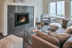 Crestline home - fireplace and den